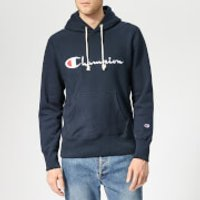 Champion Men's Script Hooded Sweatshirt - Navy - L - Blue