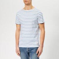 Armor Lux Men's Mariniere Hoedic T-Shirt - Blanc/Moody Blue - L - Blue