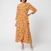 HUGO Women's Kerlina Floral Wrap Dress - Orange Floral - UK 12