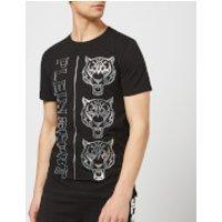 Plein Sport Men's Round Neck Tiger T-Shirt - Black/Silver - L - Black/Silver