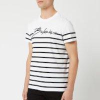 Balmain Men's Signature Striped T-Shirt - Blanc/Noir - XL - White
