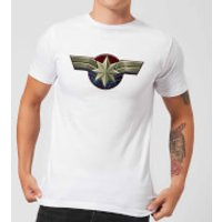 Captain Marvel Chest Emblem Men's T-Shirt - White - 5XL - White