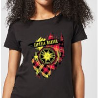Captain Marvel Tartan Patch Womens T-Shirt - Black - M - Black