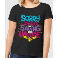 Captain Marvel Sorry I'm Late Women's T-Shirt - Black - XL - Black