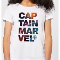 Captain Marvel Space Text Women's T-Shirt - White - L - White