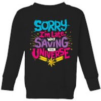 Captain Marvel Sorry I'm Late Kids' Sweatshirt - Black - 7-8 Years - Black