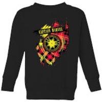 Captain Marvel Tartan Patch Kids Sweatshirt - Black - 3-4 Years - Black