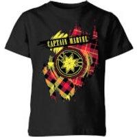 Captain Marvel Tartan Patch Kids T-Shirt - Black - 11-12 Years - Black
