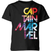 Captain Marvel Galactic Text Kids' T-Shirt - Black - 7-8 Years - Black