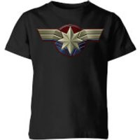 Captain Marvel Chest Emblem Kids' T-Shirt - Black - 7-8 Years - Black