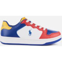 Polo Ralph Lauren Kids' Jessup Leather Trainers - Red/Royal/Yellow - UK 5 Kids/EU 38 - Multi