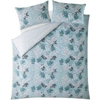 Fat Face Oriental Crane and Palm Quilt Duvet Cover Set - Duck Egg - Double