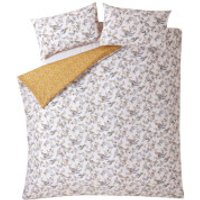 Fat Face Oriental Bird Quilt Duvet Cover Set - Mustard - Double