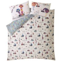 Fat Face Kids Elsie Emu Quilt Duvet Cover Set - Pink - Double