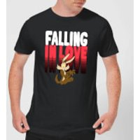 Looney Tunes Falling In Love Wile E. Coyote Mens T-Shirt - Black - M - Black
