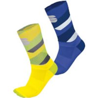 Sportful BodyFit Team 15 Socks - M-L - Yellow Fluo/Tweety Yellow/Dark Grey