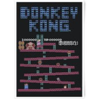 Nintendo Donkey Kong Retro Level Art Print - A4