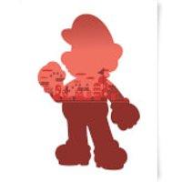 Nintendo Super Mario Silhouette Art Print - A3 - Mario Gifts