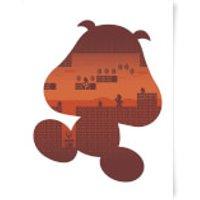 Nintendo Super Mario Goomba Silhouette Art Print - A3 - Mario Gifts