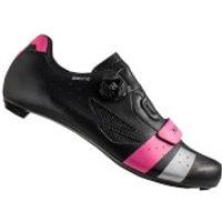 Lake CX218 Carbon Wide Fit Road Shoes - Black/Pink/Silver - EU 42