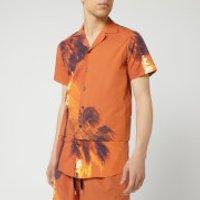 Matthew Miller Men's Palmier Layered Relaxed Collar Shirt - Burning Print - L - Red