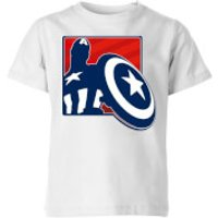 Avengers Assemble Captain America Outline Badge Kids' T-Shirt - White - 11-12 Years - White
