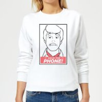 Scooby Doo Hold The Phone Women's Sweatshirt - White - 5XL - White