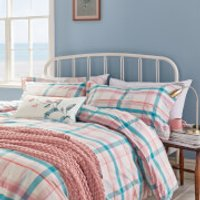 Joules Cottage Check Duvet Cover - Pink - Double