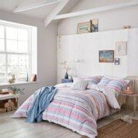 Joules Summer Fruit Stripe Duvet Cover - Pink - Single