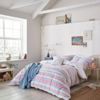 Joules Summer Fruit Stripe Duvet Cover - Pink - Super King