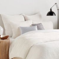 DKNY City Pleat Woven Duvet Cover - White - Super King