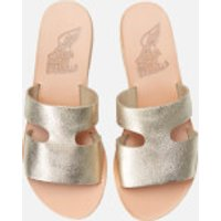Ancient Greek Sandals Apteros Metallic Leather Slip On Sandals - Platinum/sand