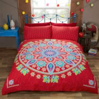 Rapport Bohemian Mandala Duvet Set - Red - Single