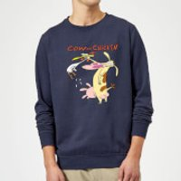 Cow and Chicken Characters Sweatshirt - Navy - XL - Navy