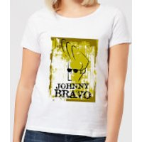Johnny Bravo Distressed Women's T-Shirt - White - L - White