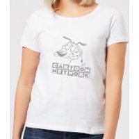 Courage The Cowardly Dog Outline Women's T-Shirt - White - XXL - White