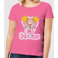 Dexters Lab Dee Dee I Love Unicorns Women's T-Shirt - Pink - L - Pink