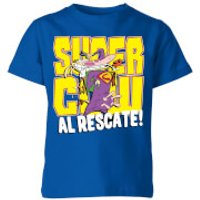 Cow and Chicken Supercow Al Rescate! Kids' T-Shirt - Royal Blue - 9-10 Years - Royal Blue - Cow Gifts