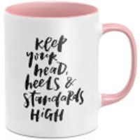 Keep Your Head Heels And Standards High Mug - White/Pink - Heels Gifts