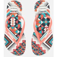 Havaianas Women's Slim Tribal Flip Flops - White/Coral New Fluro - EU 35-36/UK 3-4 - Multi