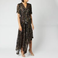Preen By Thornton Bregazzi Women's Esther Dress - Gold Harlequin Animal - M - Black