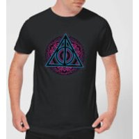 Harry Potter Deathly Hallows Neon Mens T-Shirt - Black - XXL - Black