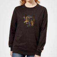 Image of Harry Potter Hufflepuff Geometric Women's Sweatshirt - Black - L - Black