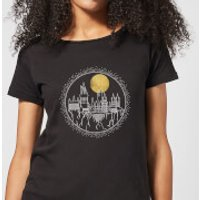 Harry Potter Hogwarts Castle Moon Women's T-Shirt - Black - XXL - Black