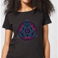Harry Potter Deathly Hallows Neon Women's T-Shirt - Black - L - Black