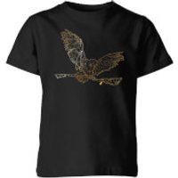Harry Potter Hedwig Broom Gold Kids' T-Shirt - Black - 11-12 años - Negro