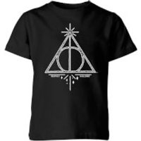 Image of Harry Potter Deathly Hallows Kids' T-Shirt - Black - 11-12 Years - Black