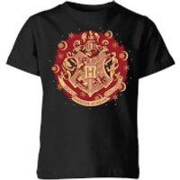 Harry Potter Hogwarts Christmas Crest Kids' T-Shirt - Black - 9-10 Years - Black