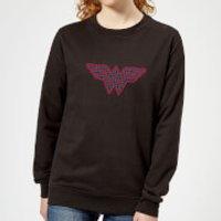 Justice League Wonder Woman Retro Grid Logo Women's Sweatshirt - Black - 5XL - Black - Woman Gifts