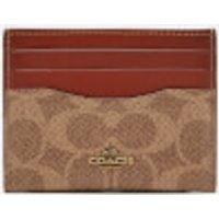 Coach Colorblock Signature Flat Card Case - Tan Rust